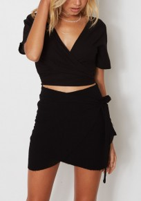 Black 2-in-1 Zipper Crop Irregular Plunging Neckline Fashion Mini Dress