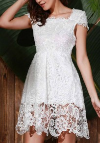 White Patchwork Hollow-out Lace Double-deck Zipper Fashion Mini Dress