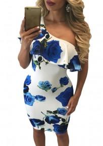 Blue Flowers Print Asymmetric Shoulder Ruffle One-shoulder Bodycon Club Midi Dress
