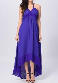 Robe maxi longue avec dentelle dos nu haut-bas irrégulière bohémien violet