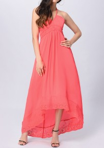 Watermelon Red Coral Patchwork Lace Halter Neck Backless Flowy High-low Swing Bohemian Maxi Dress