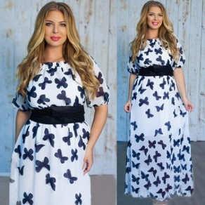 White Butterfly Print Sashes Half Sleeve Plus Size Elegant Maxi Dress