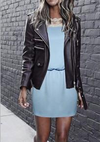 Blau Flickwerk Hohle-heraus Spitze Rundhals Kurzarm Mini Kleid