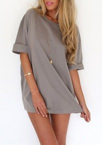 Grey Draped Comfy Half Sleeve Round Neck Casual Mini Dress