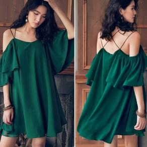 Mini vestido correa de espagueti cubierto cruz detrás falbala sin espalda verde