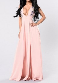 Pink Embroidery Pleated Cleavage Backless Side Slit Prom Evening Party Maxi Dress