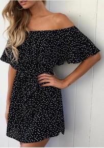 Mini vestido cuello floral barco volante manga corta la moda negro