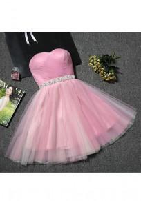 Rosa Flickwerk Bandeaukleider Granatapfellikör Tie Strass Mode Mini Kleid