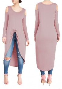 Pink Swallowtail Cut Out Off-shoulder High-low Long Sleeve Casual Midi Dress