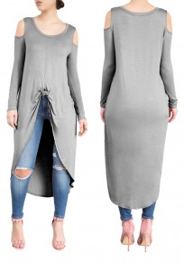 Grey Swallowtail Cut Out Off-shoulder High-low Long Sleeve Casual Midi Dress