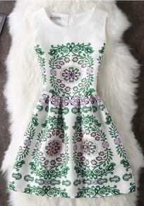 Mini vestido cremallera de impresión floral cuello redondo sin mangas blanco