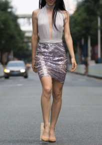 Grey-Silver Patchwork Cut Out Tie Back Cross Back Sequin Mini Dress