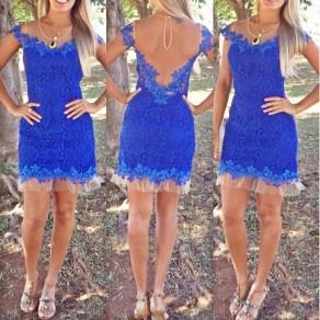 Mini vestido encaje de adina ver-a través de la fiesta nocturna de fiesta sin espalda azul