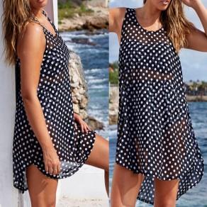 Mini-robe point de polka impression irrégulière bas-bas vis-through plus taille noir-blanc