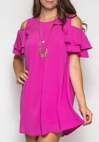 Rose Karmin Rüschen Ausschnitt Off-Schulter Eine Linie Nettes Baumwoll Minikleid
