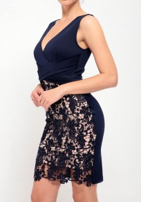 Navy Blue Patchwork Lace Zipper Deep V-neck Slit Bodycon Mini Dress