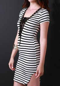 White-Black Striped Irregular Hollow-out Deep V-neck Mini Dress