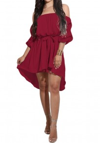 Burgundy Belt High-low Off Shoulder Long Sleeve Mini Dress