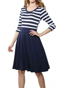 Blue-White Striped Pleated Zipper 3/4 Sleeve Fashion Midi Dress