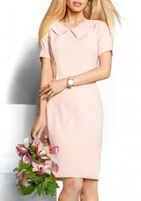 Pink Zipper Comfy Bodycon Peter Pan Collar Mini Dress