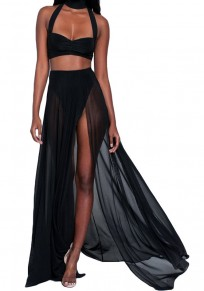 Black Zipper Draped Side Slit High Neck Two Piece Bohemian Maxi Dress