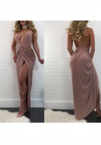 Khaki Irregular Pleated Tie Back Halter Neck Slit Party Maxi Dress
