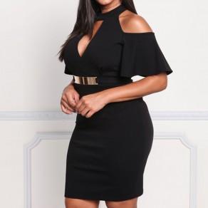 Vestido de midi falda de la correa cortada más el tamaño cintura alta elegante negro