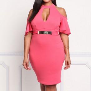 Pink Belt Ruffle Cut Out Plus Size High Waisted Elegant Midi Dress