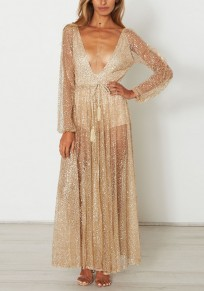 Golden Patchwork Backless Rhinestone Spark Drawstring Plunging Neckline Fashion Prom Maxi Dress