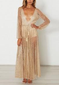 Golden Strass Glitzer Kordelzug Tiefer V-Ausschnitt Maxikleid Abendkleid