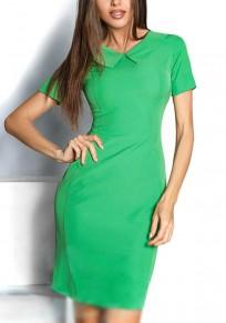Green Zipper Peter Pan Collar Short Sleeve Fashion Mini Dress