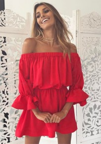 Red Ruffle Boat Neck 3/4 Sleeve Fashion Mini Dress