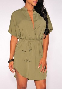 Dark Green Irregular Belt Band Collar Short Sleeve Mini Dress