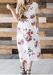 Weiße Blumendrucktaschen Rundhals Kurzarm A-Linie Mode Midi Kleid