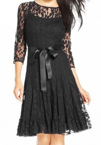 Black Patchwork Lace Hollow-out Grenadine Zipper Sashes Buttons Midi Dress