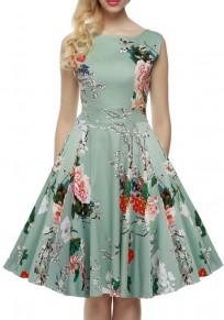 Light Green Flowers Draped Zipper Belt Tutu Elegant Midi Dress