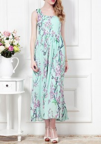 Light Green Flowers Pleated Chiffon Square Neck Sleeveless Maxi Dress