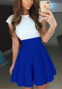 Blue Patchwork Hollow-out Lace Pleated Ruffle Fashion Mini Dress