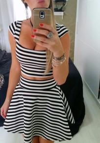 Black Striped 2-in-1 Crop Pleated U-neck Short Sleeve Mini Dress