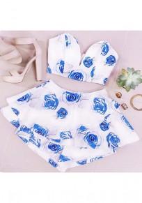 Blue Floral 2-in-1 Bandeau Irregular Zipper Crop Fashion Mini Dress