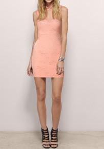 Pink Patchwork Lace Grenadine Beading Round Neck Sleeveless Mini Dress