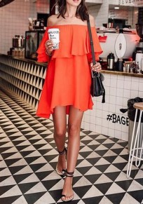 Orange Ruffle Irregular Boat Neck Elbow Sleeve Midi Dress