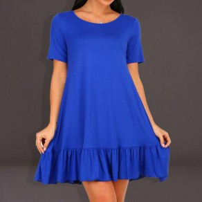 Blue Ruffle Draped Round Neck Short Sleeve Elegant Mini Dress