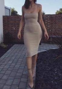 Mini vestido condole el cuello cuadrado de la correa sin mangas delgado de color caqui