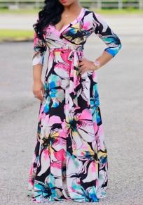 Pink Flowers Print Sashes Draped Cleavage 3/4 Sleeve Bohemian Maxi Dress