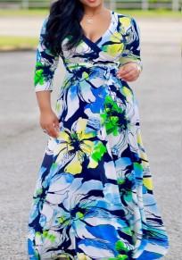 Light Blue Flowers Print Sashes Draped Cleavage 3/4 Sleeve Bohemian Maxi Dress
