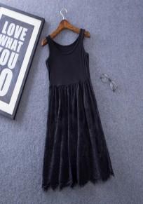 Mini robe dentelle grenade col rond sans manches noir