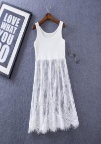Mini vestido encaje de adina cuello redondo sin mangas blanco