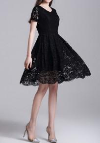 Mini vestido encaje A cielo abierto plisado cuello redondo elegante negro