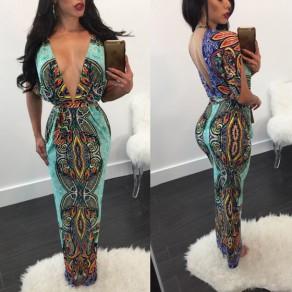 Vestido largo escote tribal estampado estampado manga del codo vendimia azul